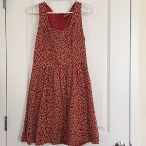 Anthropologie Maeve Red & Tan Dress w/ Zipper